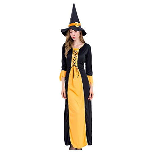 Medieval Maiden Sexy Costumes (Partiss Women's Plus Size Glamour Witch Incantasia Goth Maiden Costume,M,As Picture)