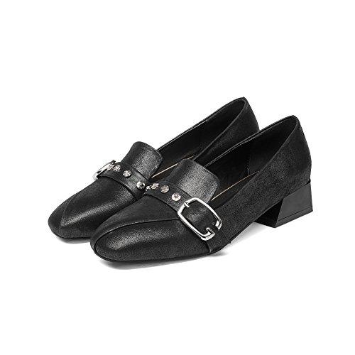 Black CXQ Talons Tête Peu Bloc QIN Chaussures carré Femme amp;X Bouche Profond wHx7PwqF
