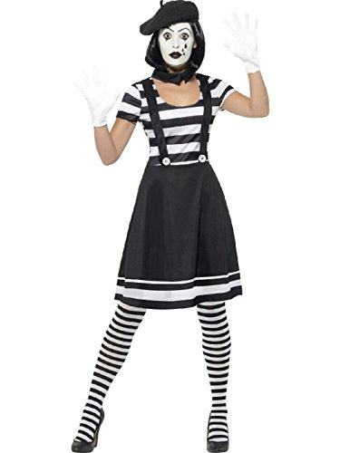 Women's Black and White Lady Mime Artist Adult Costume Large 14-16 - French Mime Artist Costume