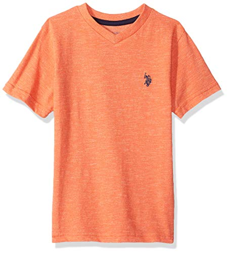 U.S. Polo Assn. Boys' Big Short Sleeve T-Shirt, Solid Marbled v Neck Marled Warm Coral, 14/16