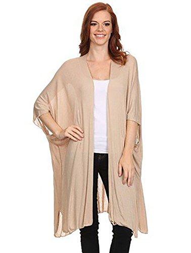 12 Ami Basic Short Sleeve Long Cardigan Beige1 L (Short Duster Sleeve)