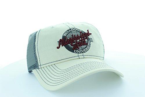 振動する間違えた時計ミシシッピ州ブルドッグ石/グレー円Hat with Mesh Truckerスタイル