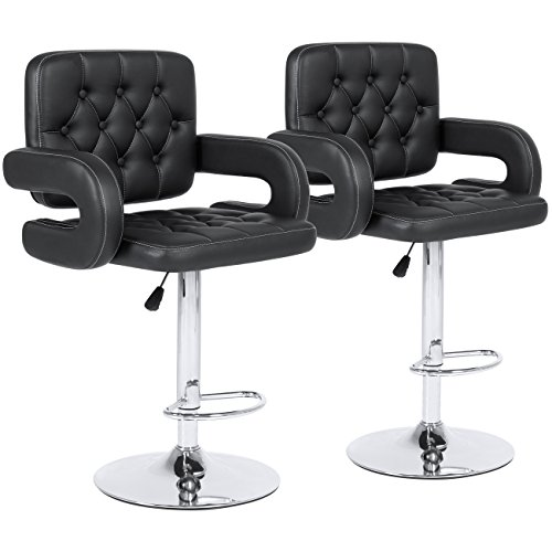 Best Choice Products Set of 2 Tufted PU Leather Swivel Hydraulic Height Adjustable Pub Bar Stools Chair- Black