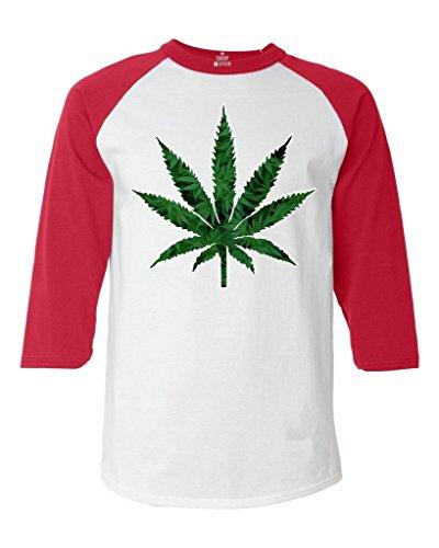 Shop4Ever Marijuana Leaf Baseball Shirt Weed Smoker Raglan ShirtXX-LargeWhite/Red0