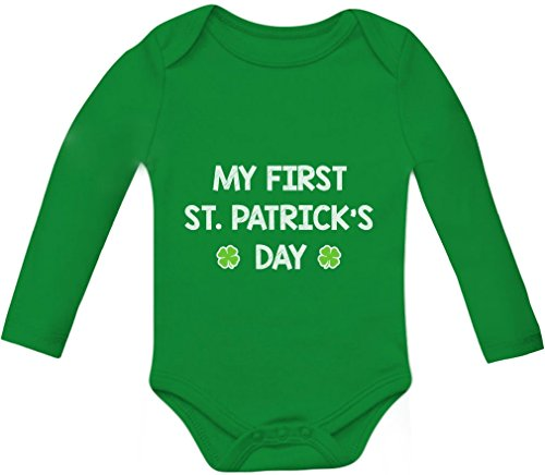 [My First St. Patrick's Day - Cute Infant Irish Clover Baby Long Sleeve Bodysuit 18M Green] (Cute St Patricks Day)