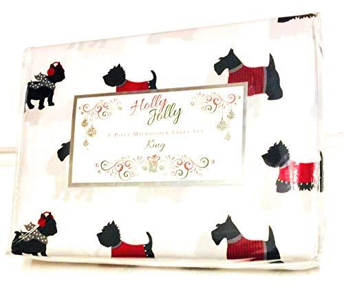 - Holly Jolly Rock Santa Christmas King Sheet Set Warm Doggies