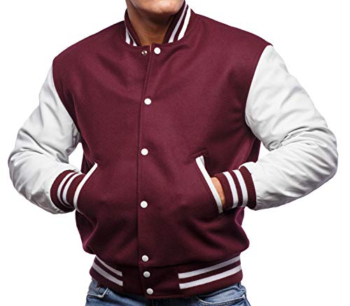 Varsity Base Letterman Jacket (10 Options) - Melton Wool Body & Premium Leather Sleeves - S to 2XL (Maroon Wool, White Leather, - Letterman Leather