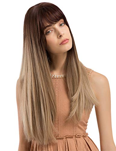 TopWigy Brunette Straight Synthetic Realistic