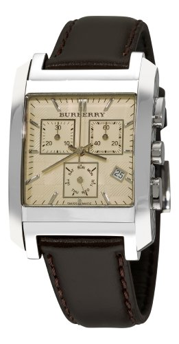 Burberry Men's BU1565 Square Ivory Chronograph Dial Leather Strap Watch