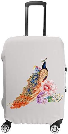 スーツケースカバー トラベルケース 荷物カバー 弾性素材 傷を防ぐ ほこりや汚れを防ぐ 個性 出張 男性と女性孔雀と花の背景