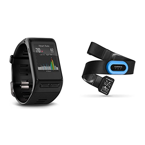 Garmin vívoactive HR GPS Smart Watch, Regular fit - Black and RM-Tri Heart Rate Monitor