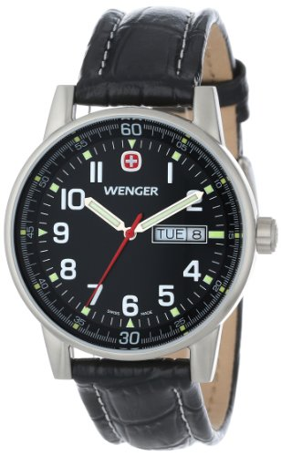 Wenger Men's 70164 Commando Day Date XL Black Dial Black Leather Strap Watch, Watch Central