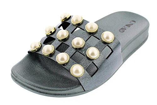 - ONDA Women's Staci Pearl Embellished Pool Slide Platform Flat Sandal with Contoured Comfort Footbed Green 8 US