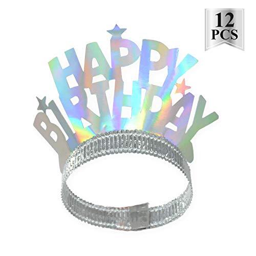 - Happy Birthday Rainbow Film Foil Tiaras Party Wearable Favors Headwear, Silver/Rainbow, 12 Count