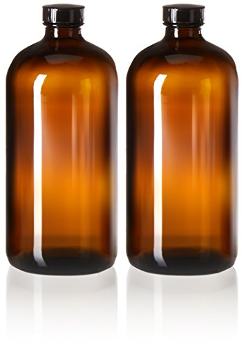 2 Pack - 32oz Boston Round Amber Glass Growler - with Phenolic Poly Cone Insert Caps - Tight Seal for Secondary Kombucha Fermentation