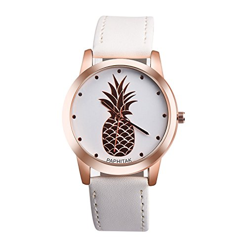 37mm Watch White Dial (Womens Mens Unisex Quartz Watch,PAPHITAKI Pineapple Pattern Unique Analog Fashion on Sale Casual Wrist Watches for Women Men,Round Dial Case Comfortable PU Leather Watch-H44 (White))
