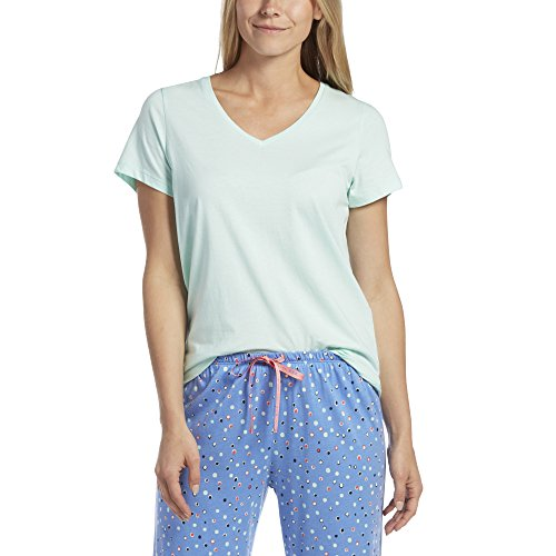 Top Pajama Size Plus (HUE Women's Plus Size Short Sleeve V-Neck Sleep Tee, Brook Green, 2X)