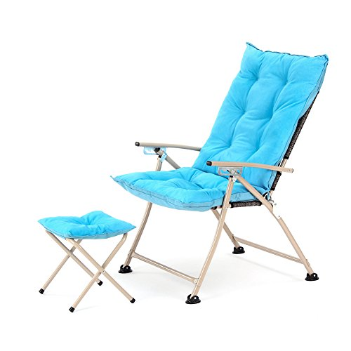 CampLand Deluxe Padded Reclining Chair with footrest Adjustable Camping Fishing Folding Cushion Relax Lazy Chair (Blue, One Pack) Review