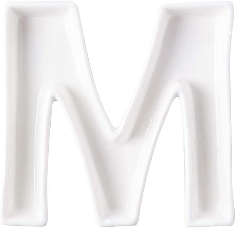 Coffeezone Ceramic Small Letter Dish & Plates for Candy / Nuts Ideas, Wedding Party Decor (Letter M)