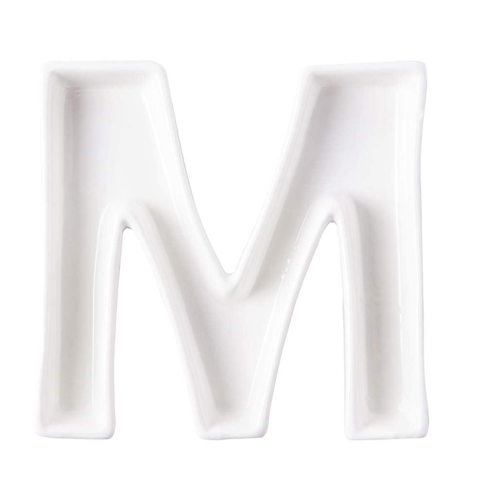 Coffeezone Ceramic Letter Dish & Plates for Candy/Nuts Ideas, Wedding Party Decor (Letter S)