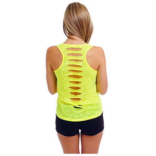HHei_K Womens Casual Solid-Color Back Cut-Out Holes Vest Crew Neck Sleeveless Perspective Shirt Tank Top (Accessories Downrod Coupler)