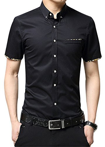 RubySports Casual Slim Fit Printed Short Sleeve Button Up Dress Shirt For Men's Black 5x
