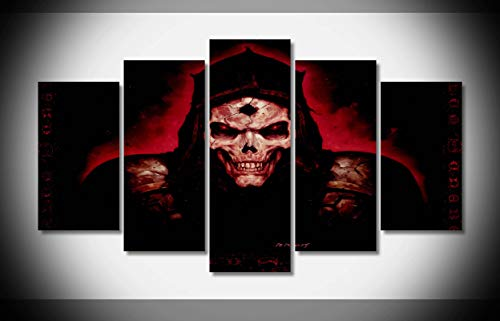 Canvastyle 5pcs Quake Fantasy Art Dark Horror Skull Evil Scary Spooky Creepy Face Eyes Artwork Stretched and Framed Modern Canvas Wall -