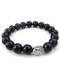 Konov Jewelry Black Agate Mens Womens Bracelet, 10mm Energy Bead, Buddha Mala, Yoga, Black Silver, with Gift Bag, C24171-10mm