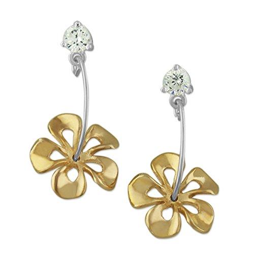 925 Silver Two Tone Yellow Hibiscus Dangle CZ Earrings Hawaiian Silver Jewelry