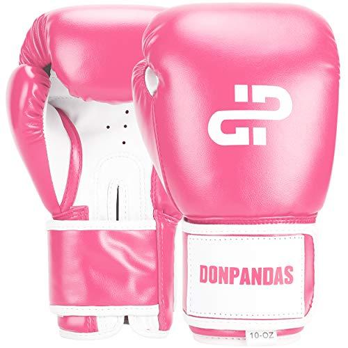 Donpandas Boxing Gloves for Women & Men Punching Heavy Bag Gloves Essential Gel Boxing Kickboxing Sparring Muay Thai Training Gloves (Pink & White, 8 oz)