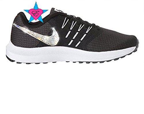 5d0bd4fa4414b Amazon.com: Women Rhinestone Crystal Black White Nike Run Swift ...