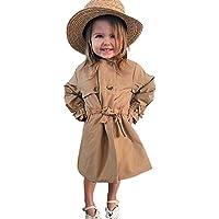 Geagodelia Abrigo para niña de manga larga de color liso, chaqueta de primavera y otoñal, estilo británico, 2-7 años