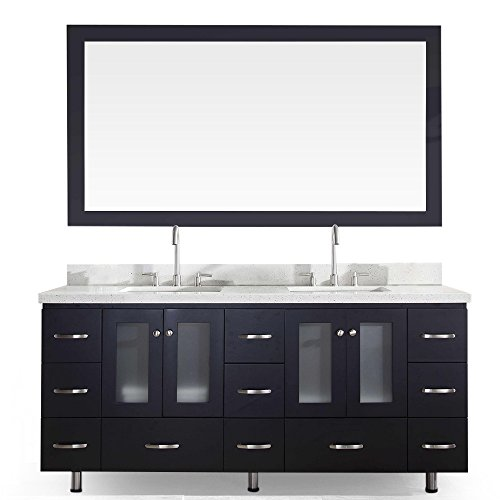 (ARIEL Americano B073D-BLK Double Sink Solid Wood Bathroom Vanity Set In Black With White Quartz Countertop, w/backsplash, 4 Soft-Closing Doors, 11 Dovetail Drawers and Wood Framed Mirror )