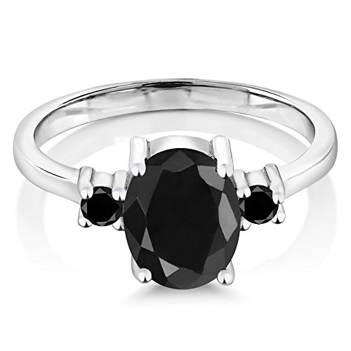 Gem Stone King Sterling Silver Black Sapphire & Black Diamond 3-Stone Women's Ring (2.67 cttw, Center Stone: 9x7 milimeters, Small Stones: 2.5 milimeters) (Size 8)