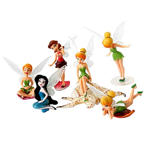 - 6pcs Tinker Bell Flower Fairy Miniature Garden Ornament Figurine Cake Topper Dollhouse Decoration