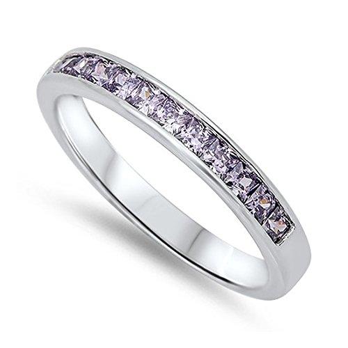 3MM Half Eternity Channel Setting Wedding Ring Princess Cut Purple Simulated Amethyst 925 Sterling Silver ()