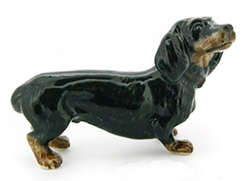 3 D Ceramic Toy Black Dachshund Dog size M Dollhouse Miniatures Free Ship by ChangThai Design