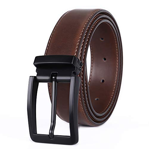 Weifert Men's Dress Belt Black Leather Belts for Jeans (40-42, Brown/Black buckle)