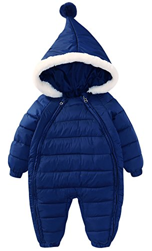 Baby Newborn Down Hoodie Romper Warm Jumpsuit Infant Winter Double Zippers Snowsuit Climbing Suit 2-3T Dark - Suit Down