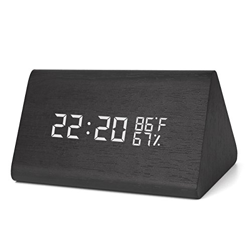 Warmhoming Wooden Digital Alarm Clock with 3 Levels Adjustable Brightness, Acoustic Control Clock with Time Temperature and Humidity