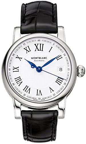 107115 MontBlanc Star Date Automatic Silver Dial Black Leather Men's Watch (For Men Montblanc Watches)