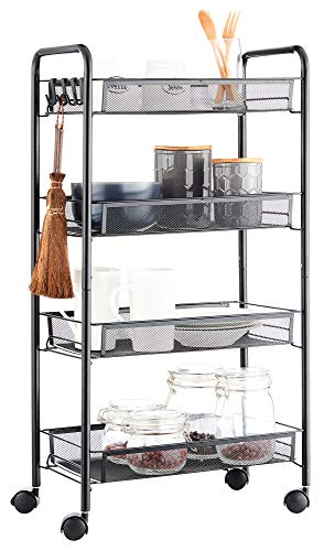 JANE EYRE Rolling Utility Storage Rack Cart on Wheels, Trolley Carft cart, Multi-Purpose Organizer Shelf