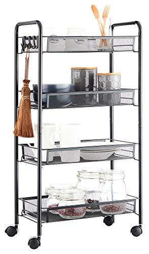 JANE EYRE Rolling Utility Storage Rack Cart on Wheels, Trolley Carft cart, Multi-Purpose Organizer Shelf