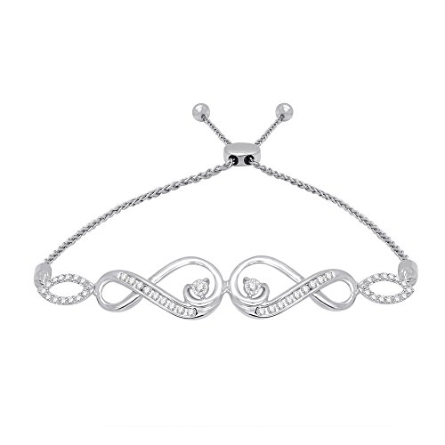 omega jewellery Sterling Silver Round Diamond Infinity Bolo Bracelet For Women's (0.25 Ct), I2-Clarity,J-Color (Omega White Bracelet)