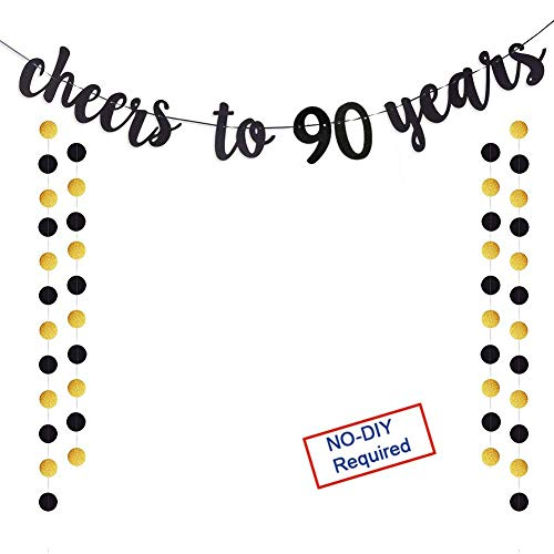Cheers to 90 Years Gold Glitter Banner For Adult 90th Birthday Party Wedding Anniversary Party Decorations (90TH)