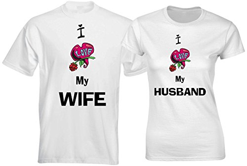 SuperPraise Matching Couples T Shirts I Love My Wife I Love My Husband Outfits by SuperPraise