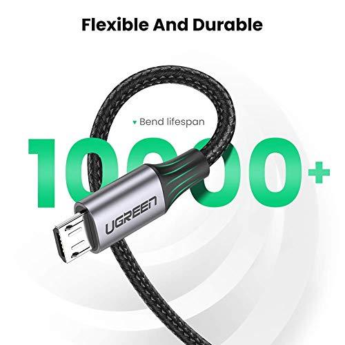 كابل يو جرين ميكرو USB 18 وات للشحن السريع لسامسونغ A10 S7 S6 J6 J4+، هواوي P سمارت P8 Y9 Y7 Y6، Honor 8X، موتو G5 E4، شاومي A2 لايت، يوليفون نوت 7، PS4 إلخ - 0.5 متر