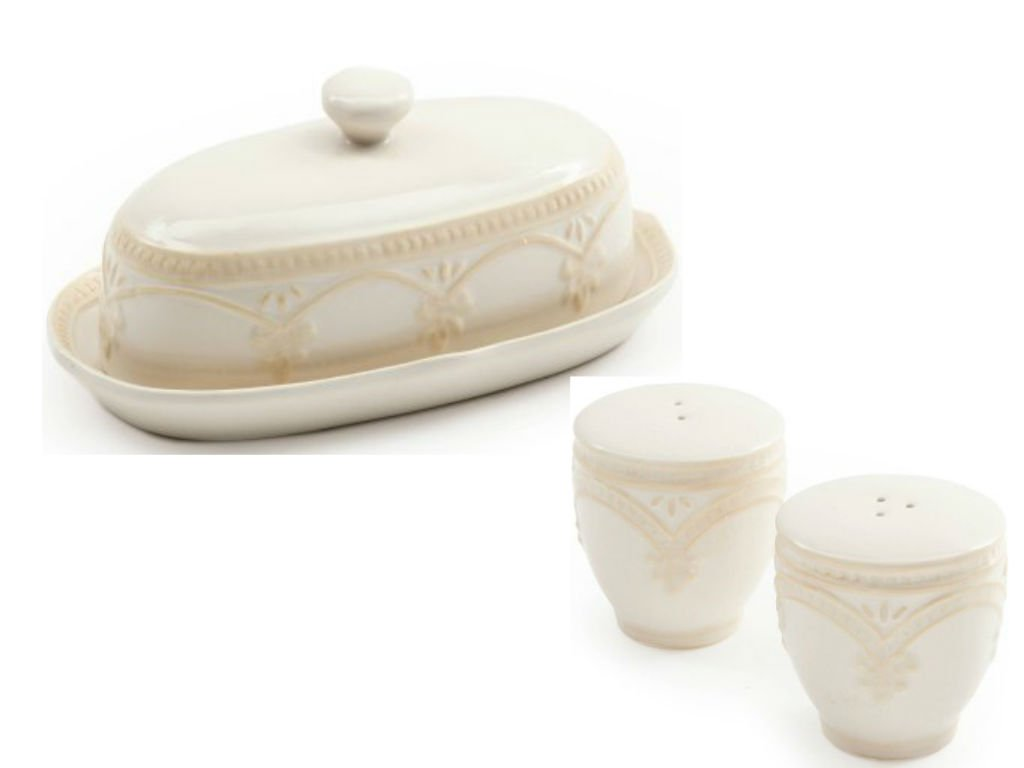 Pioneer Woman Lace Butter Dish with Lace Salt and Pepper Shaker