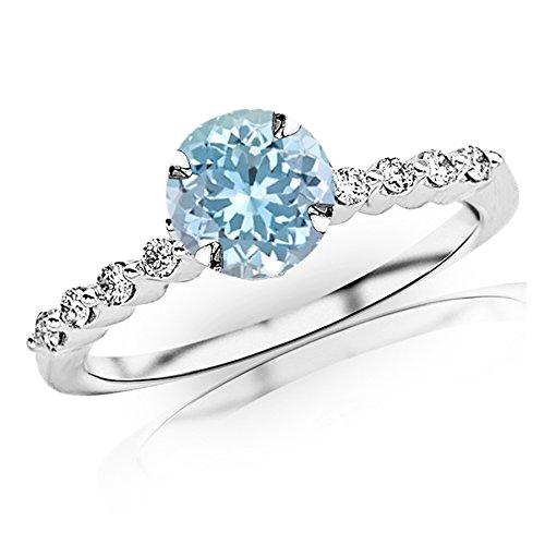 0.65 Carat t.w 14K White Gold Floating Prong Set Round Diamond Engagement Ring w/a 0.5 Carat Round Cut Blue Aquamarine Heirloom Quality ()