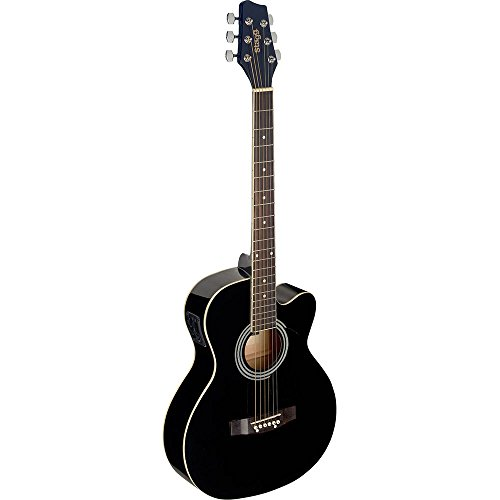 Stagg SA20ACE BLK Auditorium Cutaway Electro-Acoustic Guitar - Black